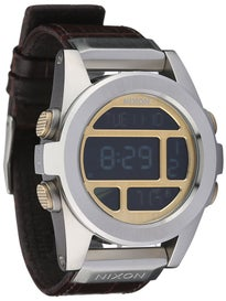 Nixon The Unit SS Leather Watch  Brown Gator