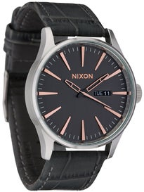 Nixon The Sentry Leather Watch Gray Gator