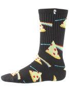Psockadelic Dark Side Of The Pizza Socks  Black/Yellow