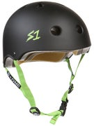 S-One Lifer CPSC Helmet  Black Matte w/Green Straps