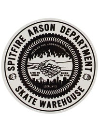 Spitfire x Skate Warehouse Burn Union Sticker White