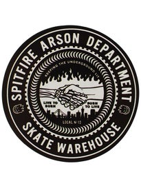 Spitfire x Skate Warehouse Burn Union Sticker Black