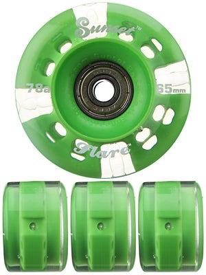 Sunset Flare Green LED Round Wheels  65mm