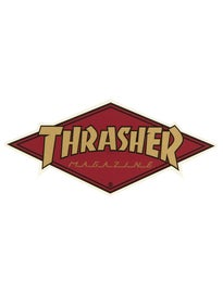 Thrasher Diamond Logo Sticker Gold/Burgundy