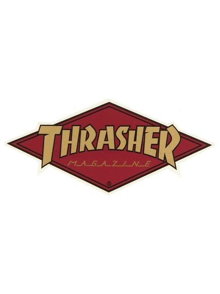 Thrasher Diamond Logo Sticker Gold/Burgundy