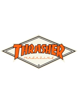 Thrasher Diamond Logo Sticker Orange/White