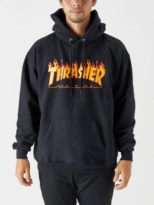 Thrasher Flame Logo Hoodie LG Black