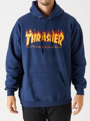Thrasher Flame Logo Hoodie MD Navy
