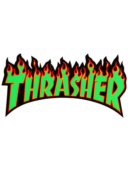 3999e8cac486 Thrasher Flame Logo Medium Sticker Green Black