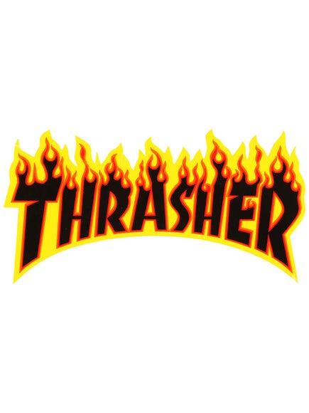 Thrasher Flame Logo Medium Sticker Black/Yellow