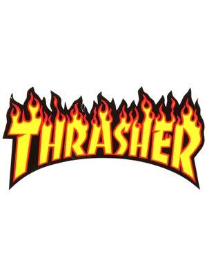 Thrasher Flame Logo Medium Sticker Yellow/Black