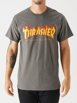 Thrasher Flame Tee XL Charcoal