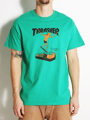 Thrasher Neck Face Tee MD Kelly Green