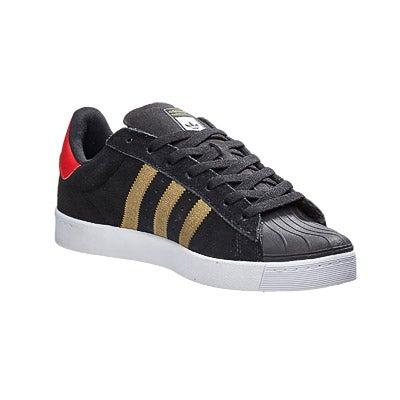 dd1d0111a85f Adidas Superstar Vulc ADV Shoes Black Gold Red 360 View