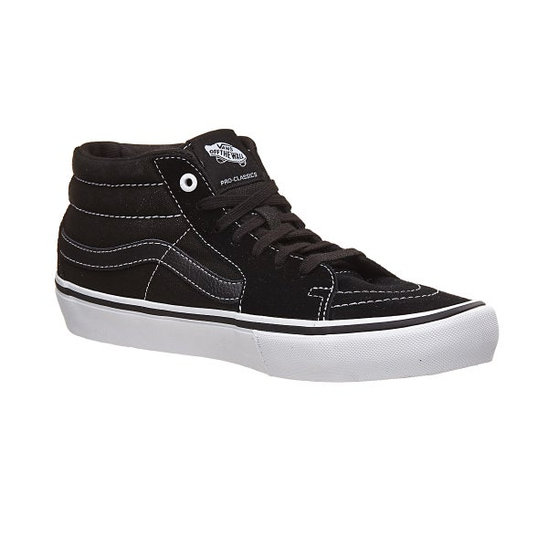 0ac00d7523 Vans Sk8-Mid Pro Shoes Black Black White 360 View