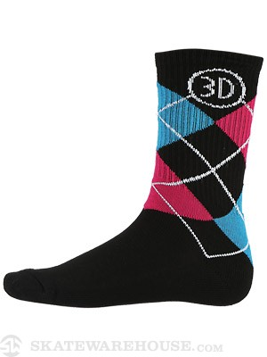 3D Argyle Socks Black