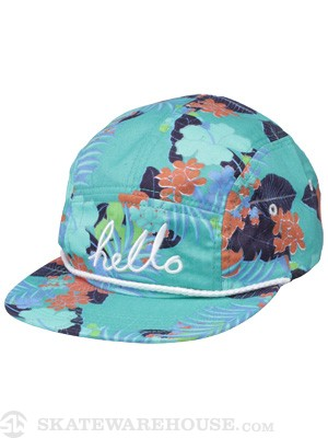 ambsn Hello 5 Panel Hat Turquoise Adjust