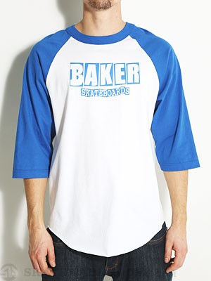 Baker Brand Logo Baseball Tee White/Blue MD