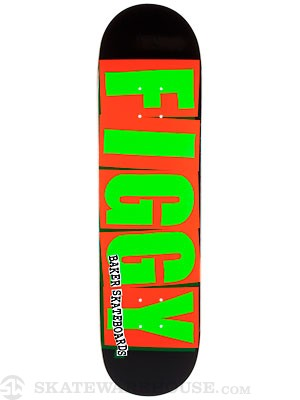 Baker Figgy Brand Logo Orange/Green Deck  8.125 x 32.25