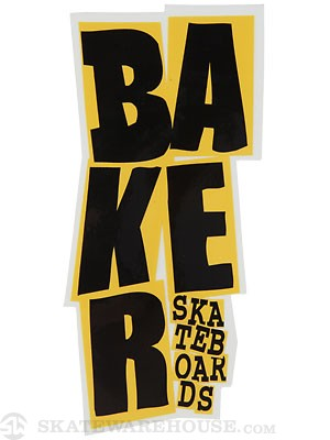 Baker Stacked Logo Sticker Black/Yellow
