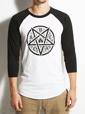 Black Label Pentagram Raglan 3/4 Tee White MD