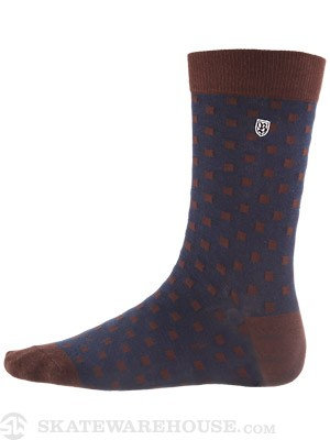 Brixton Augustine Socks Navy/Brown