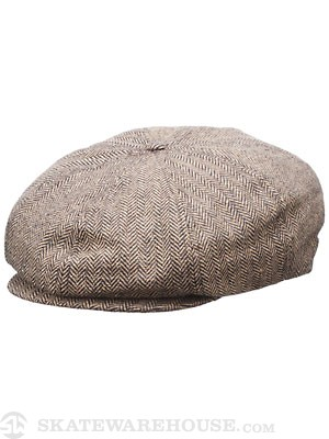 Brixton Brood Hat Brown/Khaki Herringbone SM