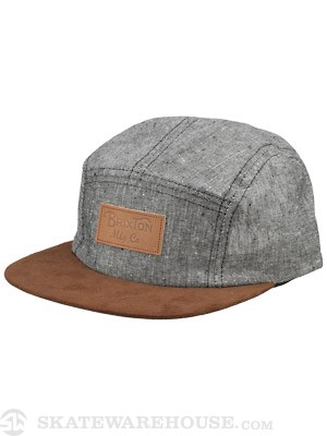 Brixton Cavern 5 Panel Hat Black/Brown Adj.