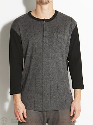 Brixton Detroit Henley Shirt Charcoal/Black MD