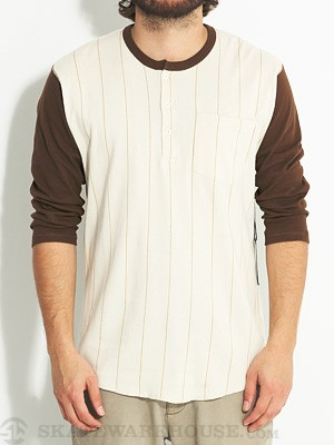 Brixton Detroit Henley Cream/Brown Stripe XL