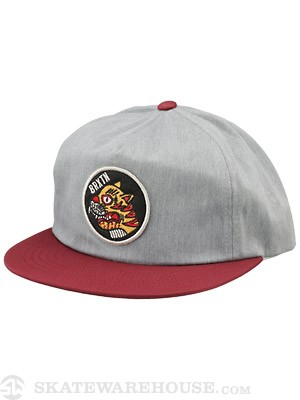 Brixton Dwight Cap Hat Hthr Grey/Burgundy Adj.