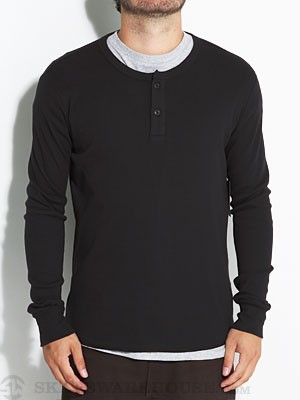Brixton Grant Thermal Henley Shirt Black LG