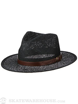 Brixton Leighton Fedora Hat Black/Brown XS