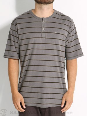 Brixton Lewis Henley Shirt Grey/Brown Stripe XS