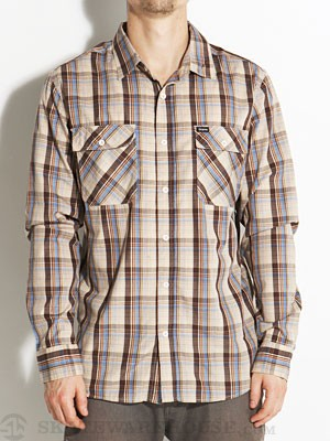 Brixton Memphis L/S Woven Shirt Brown/Cream SM