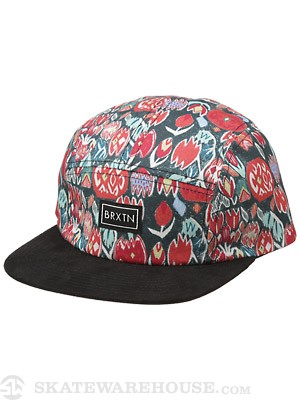 Brixton Morgan 5 Panel Hat Black/Cream Adj.
