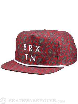 Brixton Riddle Snapback Hat Red Adjust
