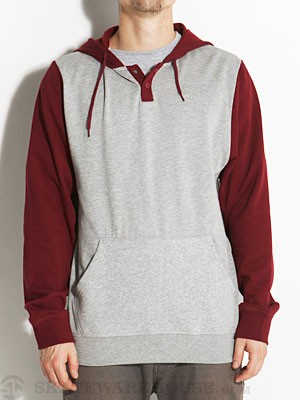Brixton Syd II Hoodie Heather Grey/Maroon SM