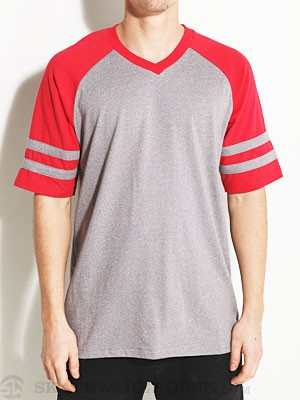 Brixton Victor Raglan Shirt Heather Grey/Red XXL