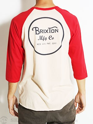 Brixton Wheeler 3/4 Sleeve Tee Cream/Red SM