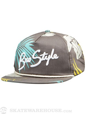 Bro Style Tropic Print 5 Panel Hat Charcoal