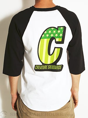Creature Live to Ride 3/4 Sleeve White/Black SM