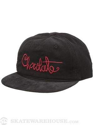 Chocolate Script Micro Cord Hat Black/Red