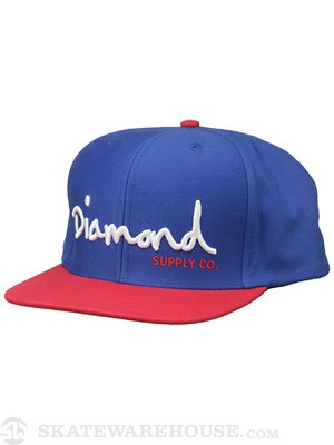 Diamond OG Script Snapback Hat Blue/White/Red