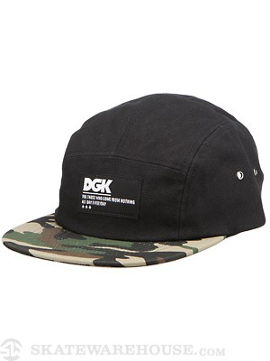 DGK AR-15 5 Panel Hat Black/Camo Adjust