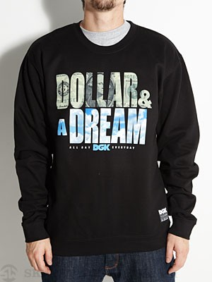 DGK Dollar & A Dream Crew Fleece Black LG