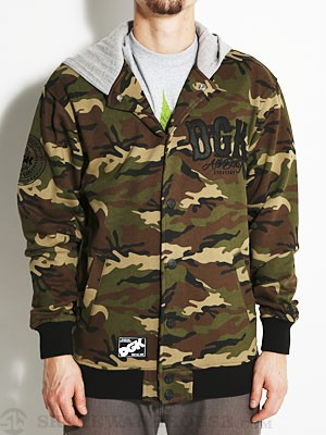 DGK Dropout Letterman Fleece Jacket Camo MD