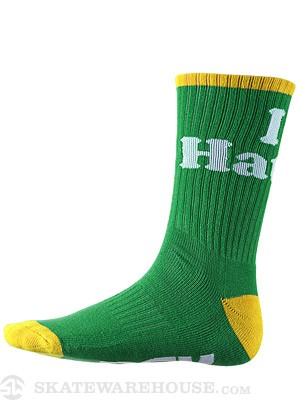 DGK Haters 14 Crew Socks Green/Gold