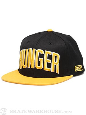 DGK Hunger Snapback Hat Black/Yellow Adj.