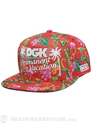 DGK Permanent Vacation Snapback Hat Red Adj